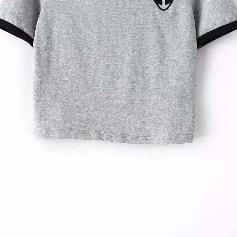 892aa8a7b ... 3D Print Aliens Crop Top Short Sleeve Loose Type T-Shirt Women  Teenagers T- ...
