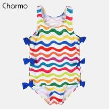 Charmo Baby Girls One Piece Swimsuits Flower Printed Swimwear Kids Bow-Knot Cute Bikini Beach Wear Children Wave One-Piece Suit