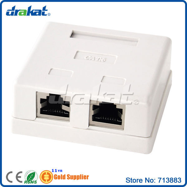 2 port RJ45 Shield Cat6 Surface Box