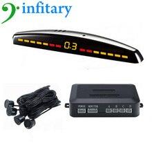 Infitary Car Reversing Sensors Kit 4 Parking Sensors LED Monitor Parking Buzzer Alarm 2m Alarm Distance DC12V Auto Radar Probe