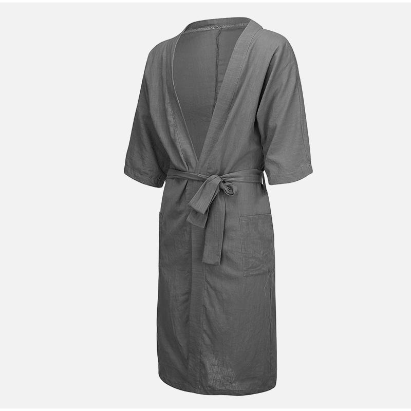 Linen Men's V-neck Long Solid Pajamas Robes Wrist Sleeve Simple Lace Up Male Robe 2020 Vintage Men Bathrobe Homme Nightgown