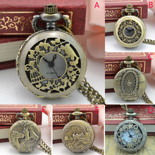 Vintage Steampunk Retro Bronze Design Pocket Watch Quartz Pendant Necklace Gift
