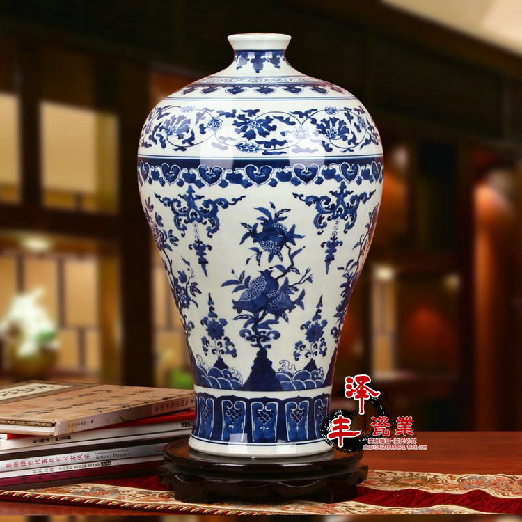 Qing Yongzheng Mark Ancient Home Decorate Porcelain Vase Blue And