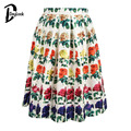 Daylook Summer Style Flowers Print Knee-Length Puff Pleated Skirt Elegant Vintage High Waist Tutu Skirts Women Skater