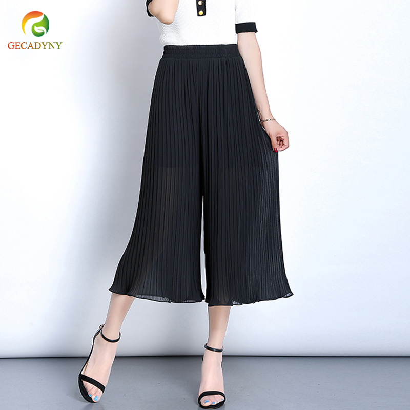 Pleated Chiffon Wide Leg   Pants   Female Spring Summer   Pants   Thin Section Elastic Waist High Waist Casual Wide Leg   Pants     Capris