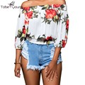 2016 Women's Sexy Off Shoulder Vintage Elegant Floral Printed Summer Beach Casual Holiday Club Party Top Blouse Tee Shirt Blusas