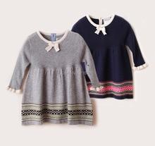 Девочка принцесса платья на осень и весна, Девушки трикотажное платье с длинными рукавами детская одежда платье свитер