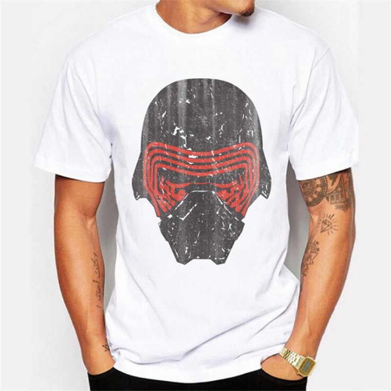 Hot Fashion Mens T-shirt Warrior Mask Pattern Print Trend Top