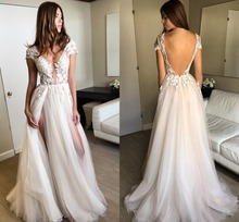 Real Photo Sexy Split Tulle Lace Prom Dresses V Neck Light Champagne Floor Length Backless Evening Gowns