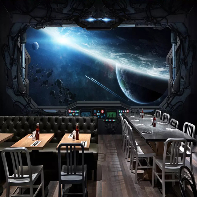 . US  9 96 36  OFF Aliexpress com   Buy Custom 3D Photo Wallpaper Cosmic  Space Cabin Spacecraft Wall Painting 3D Restaurant Hotel Internet Gaming  Room