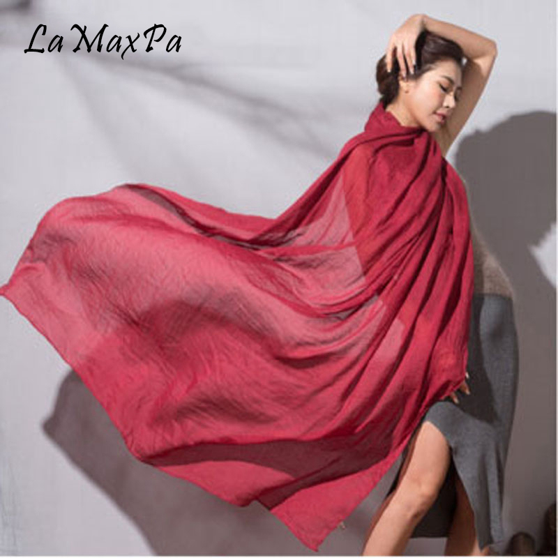 LaMaxPa Women Solid Color Scarf Soft Cotton Linen All-match Shawl Scarf Female Elegant Echarpe Mujer Chal Vrouwen Grace Sjaals