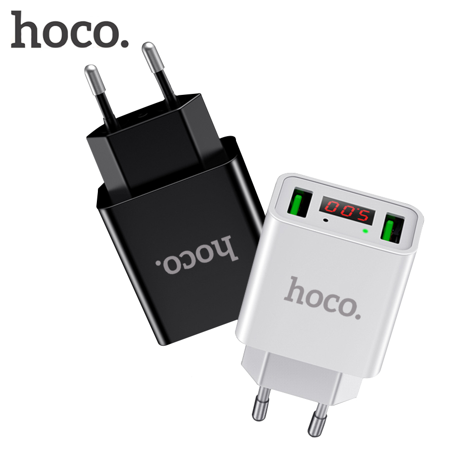 HOCO EU US Plug 2 Ports LED Display Dual USB Charger 5V 2.2A Wall Adapter Mobile Phone Micro Data Charging For iPhone iPad Phone