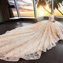 Wedding 2019 New Elegent Champagne Lace Flower Bride Wedding Boat-neck Sleeveless Luxury Royal Train Princess Wedding Dress