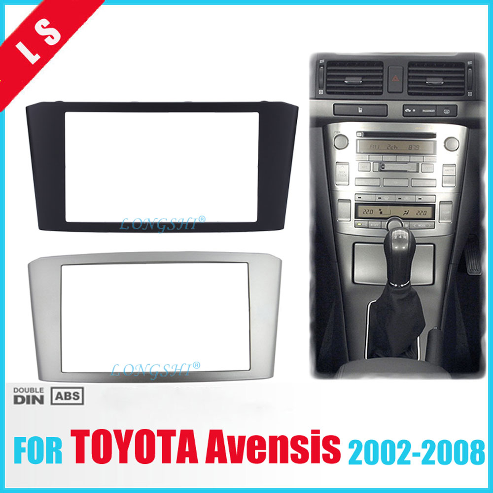 Car Radio Fascia for TOYOTA Avensis Facia Panel Stereo Face Plate Audio Bezel Facia dash Mount Kit Adapter Trim 2din DVD Frame 2 seicane exquisite 202 102 double din car radio fascia for 2009 2013 toyota avensis dvd frame in dash mount kit trim bezel