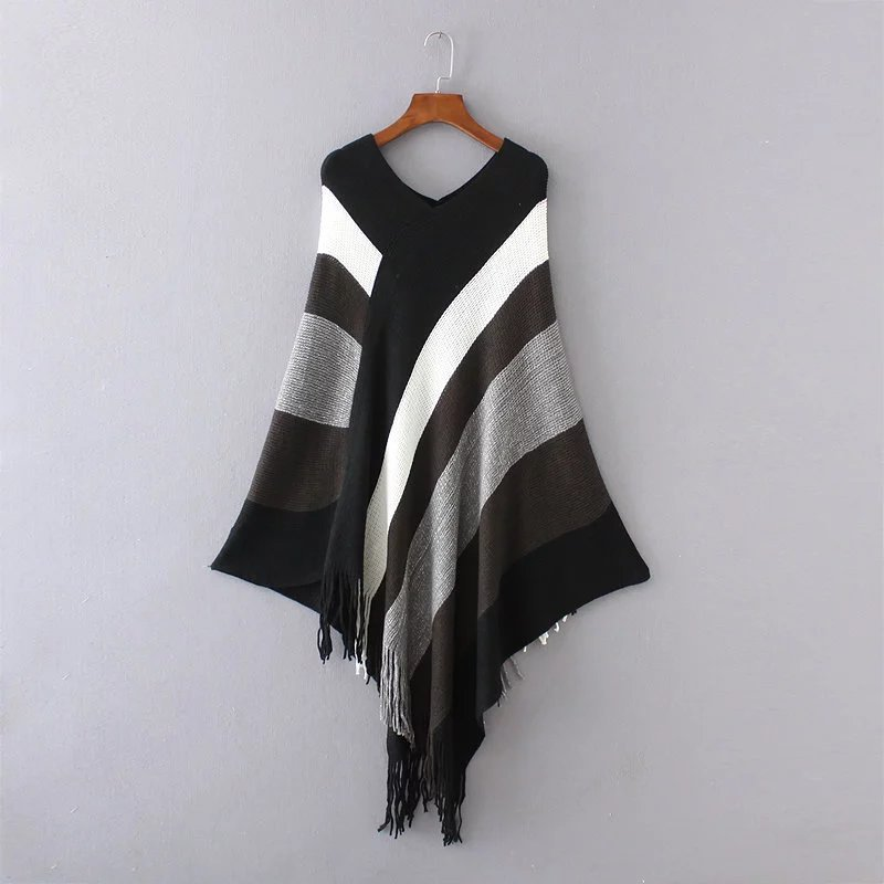 Knitted Sweater Pullovers Capes Ponchoes Fringe-Splicing Tassel Womens Fashion Ladie