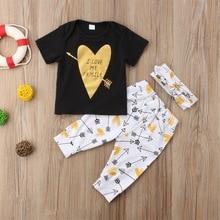 Newborn Baby Kids Boys Girls Arrow Printing Cotton Romper Tops+ Pants +Headband Cute 3pcs Outfits Set недорого
