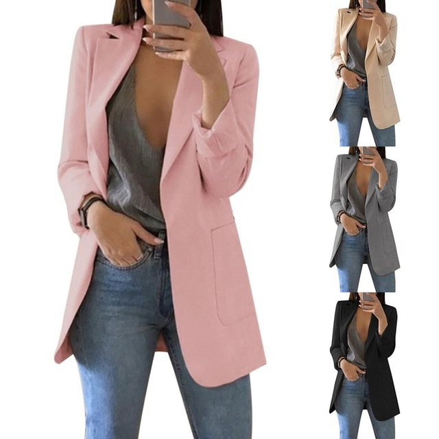 Spring Women Blazer Fashion Solid Long Sleeve Cardigan Jacket Suit Vintage Turn-down Collar Outwear Ladies Blazer Top