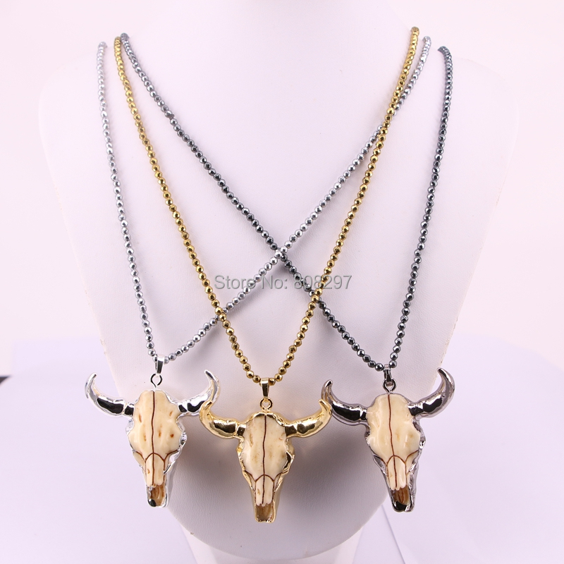 5Pcs Fashion buffalo cattle head horn pendant necklace mix color hematite beads necklaces jewelry
