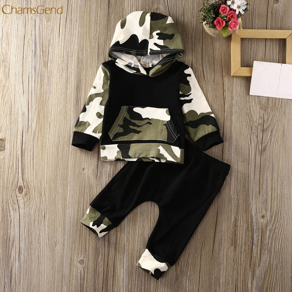Children Clothing 2Pcs Toddler Infant Baby Boy Clothes Set Camouflage Hooded Tops+Pants Outfits Girls Clothes одежда на маленьких мальчиков