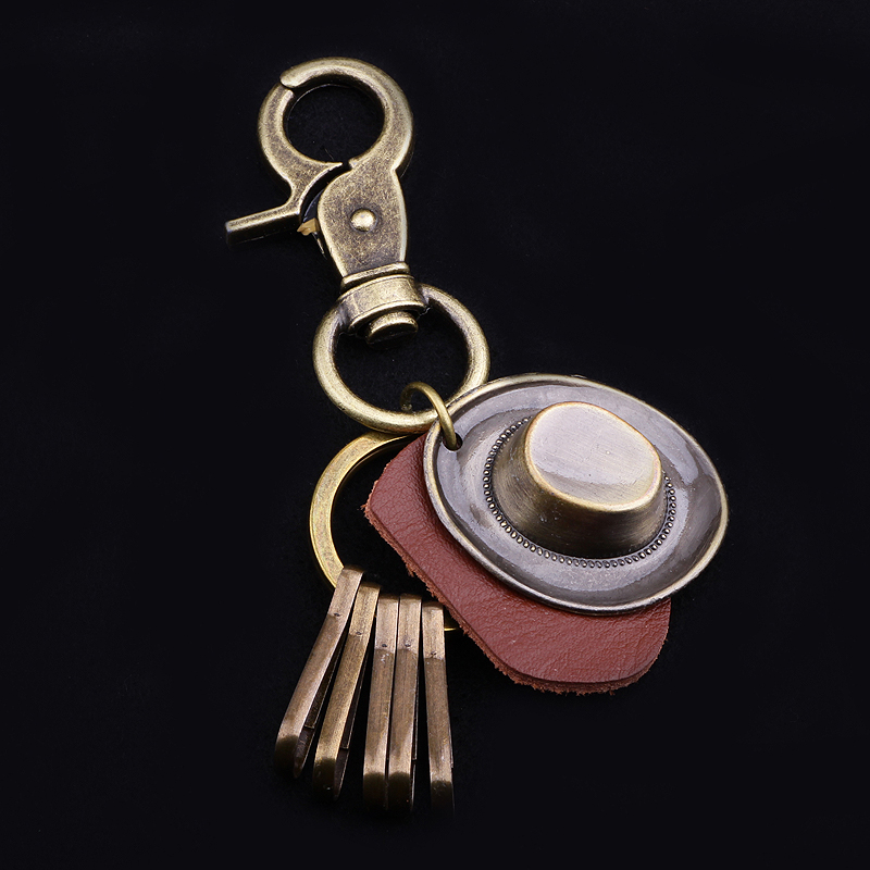 Customizable  West Cowboy  Straw Hat  Leather Keychain