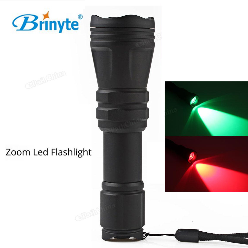 Brinyte B168 Convex Lens Zoom LED Flashlight Torch Waterproof Tactical Zoomable Hunting 18650 Flash Light Red / Green Light 4x lot rasha quad factory price 12 10w rgba rgbw 4in1 non wireless led flat par can disco led par light for stage event party