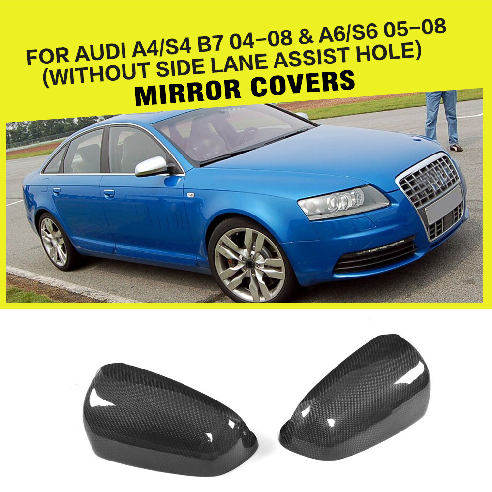 Car Style Replacement Rearview Car Mirror Cap Covers Trim for Audi A4 B7 2004-2008 & A6 2005-2008 LHD Only