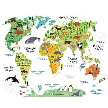 Pegatina De Pared De vinilo De mapa del mundo Animal colorido para habitación De niños decoración del hogar calcomanías 3D creativas Pegatinas De Pared sala De estar pegatinas