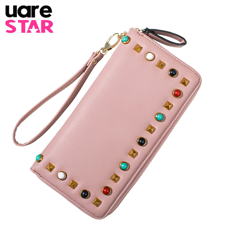 2017 High Capacity Fashion Women Wallets Famous Brand Designer Stud Long Ladies Wallet High Quality PU Leather Women Purse famous women luxury brand wallets genuine leather purse clutch ladies rivet pink wallet designer high quality long wallet thin