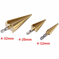 3Pcs Lot Professional HSS Steel Large Step Cone Hex Shank Coated Metal Drill Bit Cut Tool