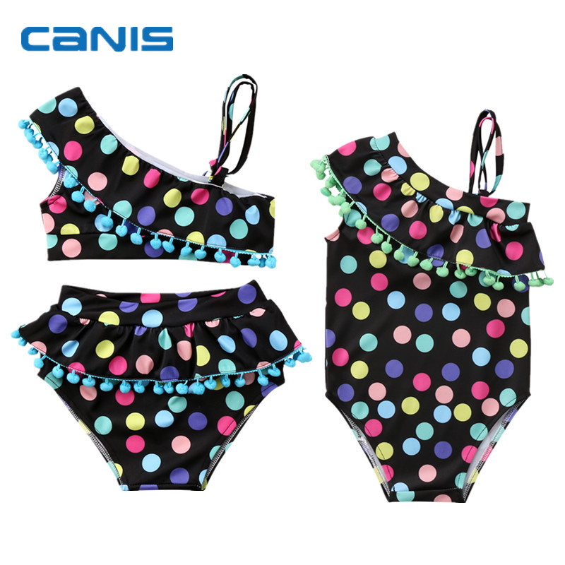 Bikini-Set Swimwear Tassel-Set Bathing Toddler Baby-Girls Infant Child Kid Dot Colorful