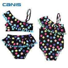 Новинка года; брендовый комплект бикини в разноцветный горошек с кисточками для маленьких девочек; Купальник; одежда для купания купальник с кисточками