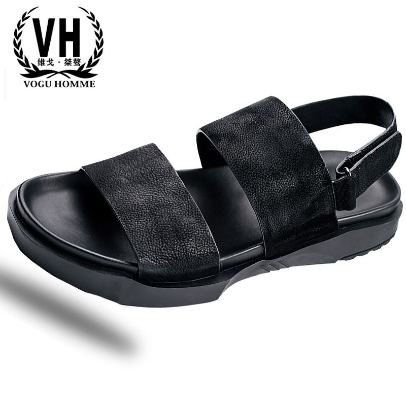 summer British fashion sandals men Genuine leather beach shoes casual breathable Sneakers Mens Slippers Flip Flops Shoes male