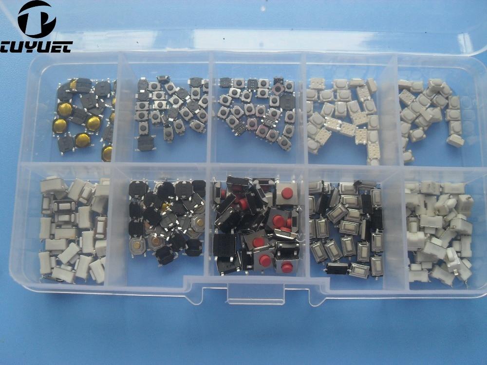 10 modeller * 25 STK Taktil tryckknappsomkopplare Mikrobrytare Bilens fjärrkontrollknappar