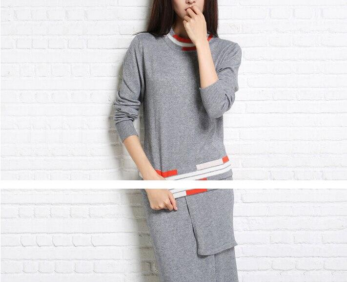 Stripe Ankle Length Women Fashion Asymmetrical Vintage Sweater Sets