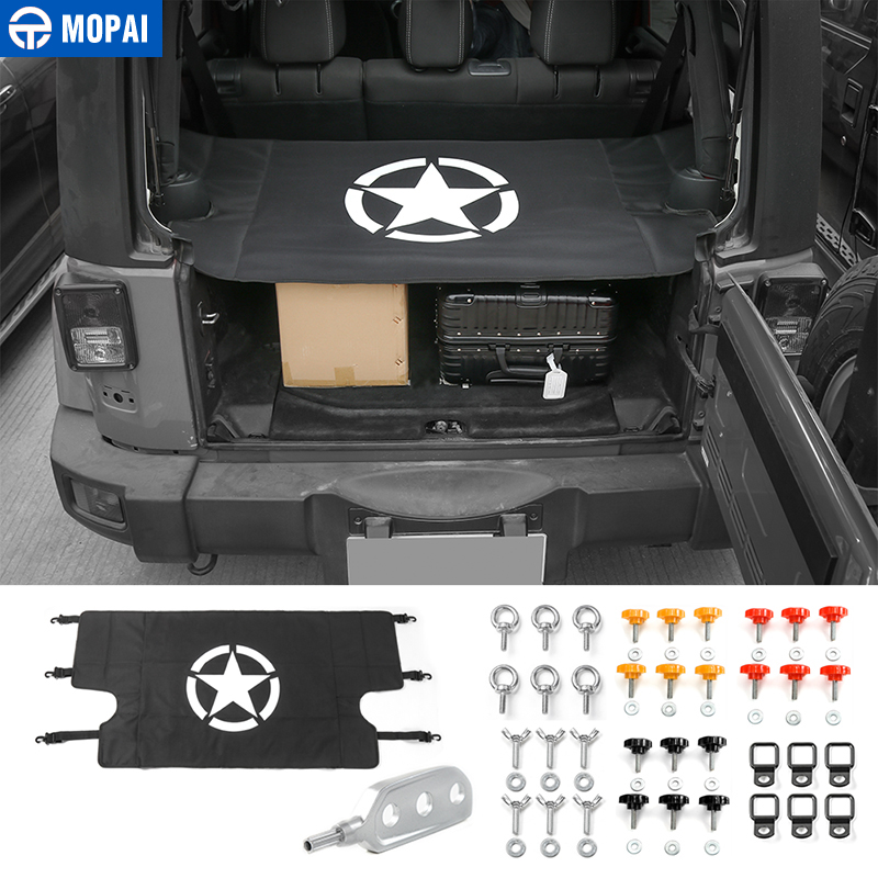 MOPAI Interior 5 Stars Tail Trunk Cover Curtain With Screws Nut Pull Buckle Decoration For Jeep Wrangler 2007 Up Car Styling for mazda cx 5 cx5 2nd gen 2017 2018 interior custom car styling waterproof full set trunk cargo liner mats tray protector