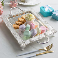 10pcs/lot Wedding European Metal Silver Cake Tray Fruit Plate Sweet Table Decoration Living Room Hotel Wedding Event Decoration