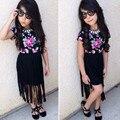2016 nueva marca de traje de chica de moda borla negro dress flores de los niños de la camiseta + pantalones vaqueros niños del algodón fija el envío gratis
