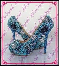 Aidocrystal 2015ส่วนใหญ่หรูหราr hinestone g litterสีฟ้าแต่งงานรองเท้าส้นสูงและกระเป๋าเพื่อให้ตรงกับผู้หญิง