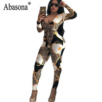 Abasona Sexy Print Skinny Long   Jumpsuit   Women Long Sleeve V Neck Hollow Out Romper Autumn Club Bodycon   Jumpsuit   Without Sashes