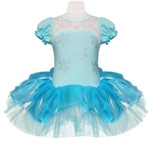 Image 2 - Children Girls Ballet Tutu Dress Flower Snowflake Sequins Ballet Leotards Kids Princess Stage Performance Dance Costumes
