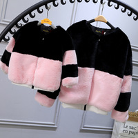 2017 New Fashion Wnter Rex rabbit fur coat children Imitation Short Jacket Coats Faux Fur Zipper coat Family Matching Outfits