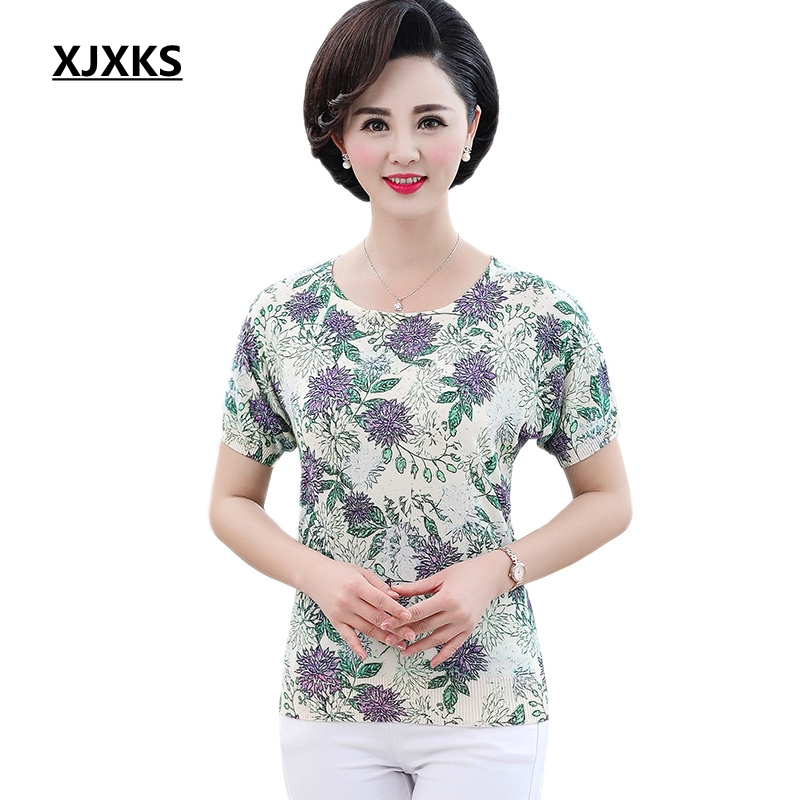 XJXKS Women Clothes 2019 Plus Size Tee Shirt Femme Print Knitted Aesthetic Vintage Summer Top Women Oversized T Shirt