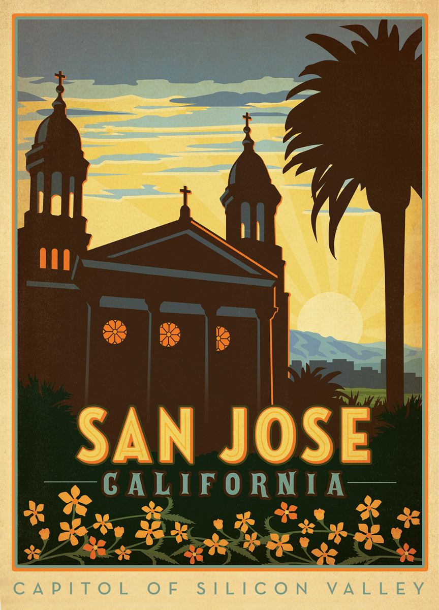 america san jose california travel poster classic retro vintage kraft decorative diy wall sticker home posters decoration gift