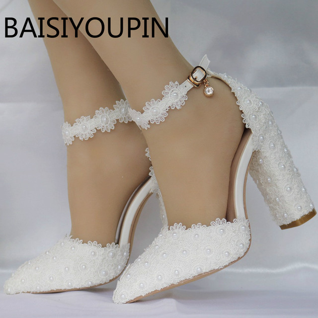 White lace pointed women s wedding shoes female thick flower high heels shoe  shallow mouth Buckle Bride shoes plus size 40 41 c4b943144f4b