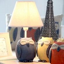 Lovely Children's Bedroom Desk Lampshade LED Resin Owl Table Lamps Living Room Night Lights For Home