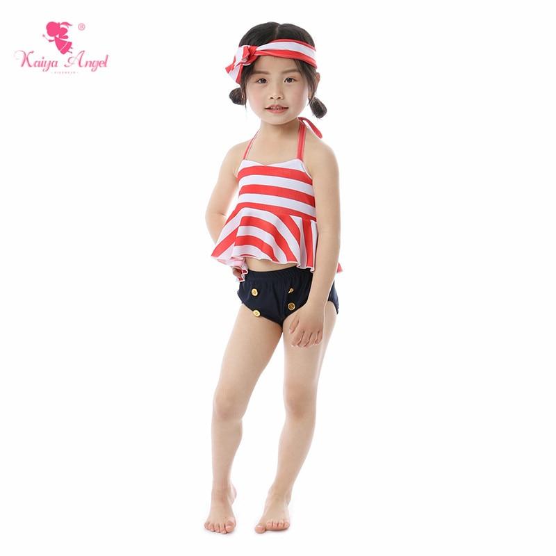 Kaiya Angel New Baby Girl Swimwear Summer Kid Swimsuit Beach Striped Shorts Simple Style Belt 5pcs/lot All Size Factory Wholesal