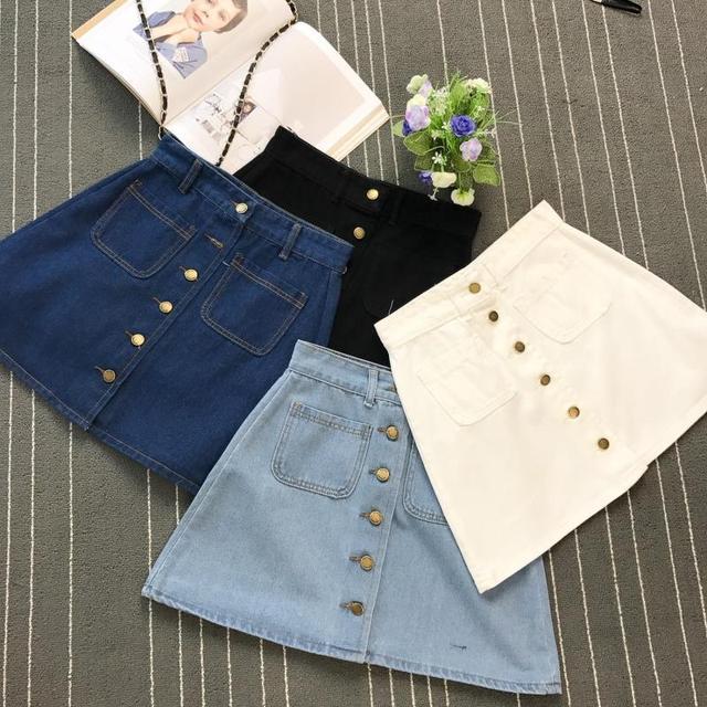 On sale 2019 Summer Skirt Womens A-line Denim Blue Mini Skirt High Waist Jeans Harajuku Pockets Jeans Skirt Button Open White 3