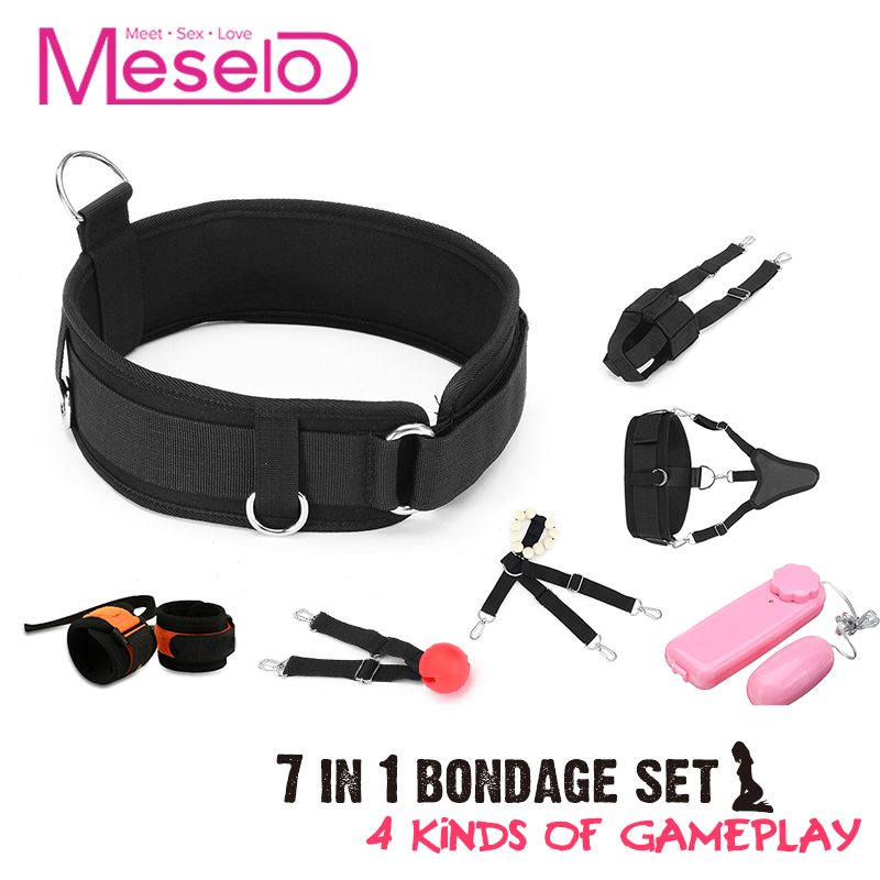 купить Meselo Bdsm Bondage Set Slave Adult Sex Toys For Couples Handcuffs Gag Ball Love Eggs Bondage Fetish Restraint Erotic Sex Game по цене 2168.44 рублей