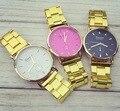 99 Caliente de La Manera Del Reloj de Oro de Lujo Ginebra Marca Mujeres se Visten Los Hombres Relojes Pareja Relojes de Pulsera de Cuarzo de Acero Completa Casual Reloj Relogio