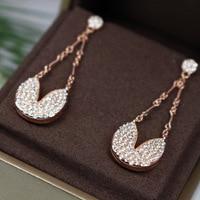 2019 new fashion heart heart wish ear nail female rose gold rhinestone long heart shaped earrings
